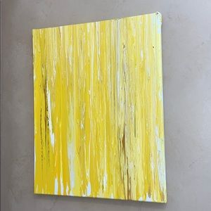 Yellow medium canvas drip painting